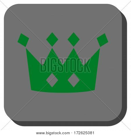 Crown toolbar icon. Vector pictograph style is a flat symbol on a rounded square button green and gray colors.