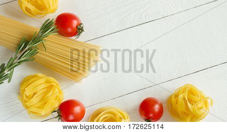 Pasta with tomato rosemary, top view. Full screen
