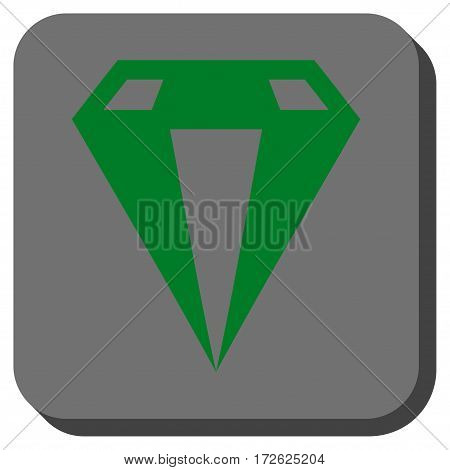 Diamond interface toolbar button. Vector pictogram style is a flat symbol inside a rounded square button green and gray colors.