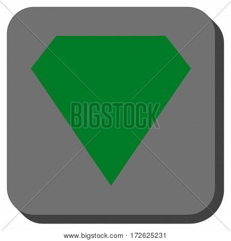 Diamond rounded button. Vector pictogram style is a flat symbol on a rounded square button green and gray colors.