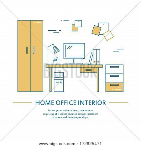 Vector office interior design brochure cover in line style. Flyer home decoration. Business presentation minimalistic background. Magazine catalog geometric house elements. Poster or booklet