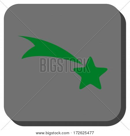 Falling Star interface button. Vector pictogram style is a flat symbol on a rounded square button green and gray colors.