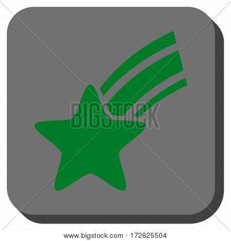 Falling Star rounded icon. Vector pictograph style is a flat symbol inside a rounded square button green and gray colors.