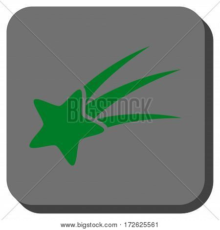 Falling Star interface icon. Vector pictogram style is a flat symbol on a rounded square button green and gray colors.
