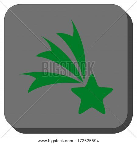 Falling Star toolbar button. Vector pictogram style is a flat symbol centered in a rounded square button green and gray colors.