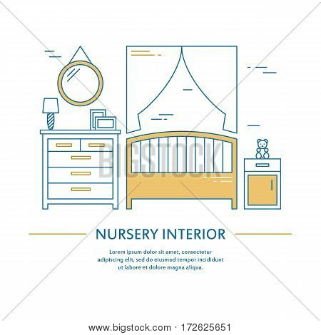 Vector nursery interior design brochure cover in line style. Flyer home decoration. Business presentation minimalistic background. Magazine catalog geometric house elements. Poster or booklet