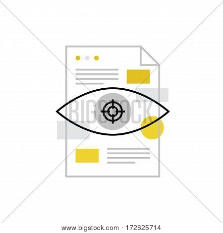 Modern vector icon of project details strategic vision and related document. Premium quality vector illustration concept. Flat line icon symbol. Flat design image isolated on white background.