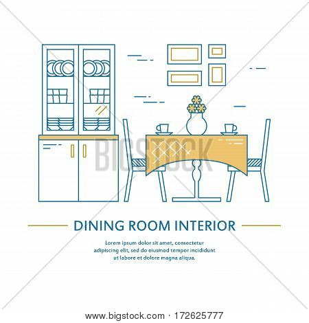 Vector dining room interior design brochure cover in line style. Flyer home decoration. Business presentation minimalistic background. Magazine catalog geometric house elements. Poster or booklet