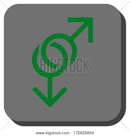 Gay Love Symbol interface toolbar icon. Vector pictograph style is a flat symbol on a rounded square button green and gray colors.