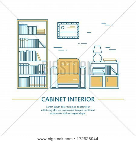 Vector cabinet interior design brochure cover in line style. Flyer home decoration. Business presentation minimalistic background. Magazine catalog geometric house elements. Poster or booklet