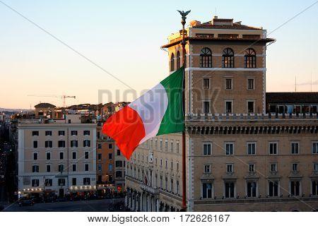 Italian flag on Venezia Square in Rome Italy