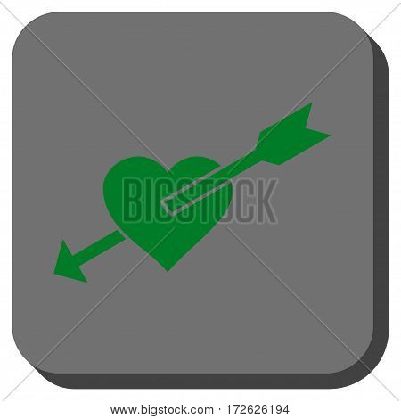 Heart Arrow toolbar button. Vector pictogram style is a flat symbol centered in a rounded square button green and gray colors.
