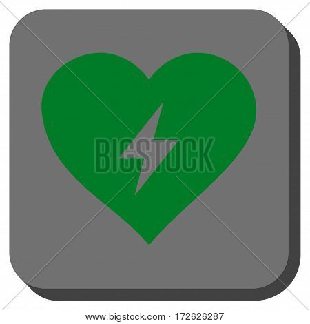 Heart Power interface icon. Vector pictogram style is a flat symbol centered in a rounded square button green and gray colors.