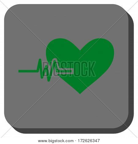 Heart Pulse interface toolbar button. Vector pictograph style is a flat symbol inside a rounded square button green and gray colors.