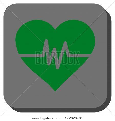 Heart Pulse rounded button. Vector pictograph style is a flat symbol centered in a rounded square button green and gray colors.