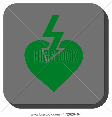 Heart Shock Strike interface toolbar button. Vector pictograph style is a flat symbol in a rounded square button green and gray colors.