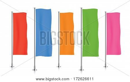 Five colorful vertical banner flags, standing in a row. Red, blue, orange, green and pink banner flag templates isolated on background. Vertical flags realistic mockup.