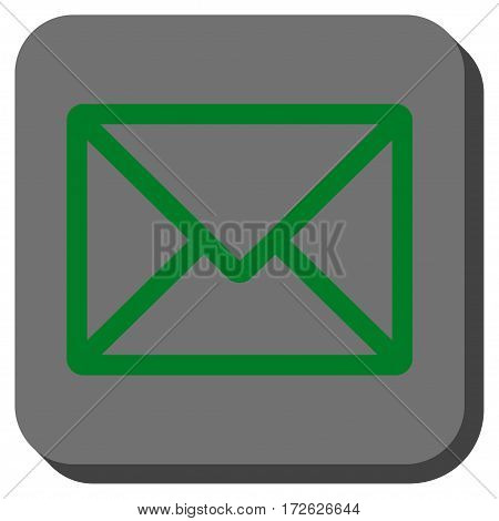 Letter interface icon. Vector pictogram style is a flat symbol inside a rounded square button green and gray colors.
