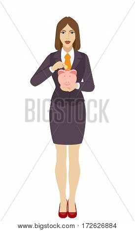 Businesswoman puts coin in a piggy bank. Full length portrait of businesswoman in a flat style. Vector illustration.