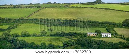 Pastures and farmland in the hills of Exmoor National Park. Two house. UK