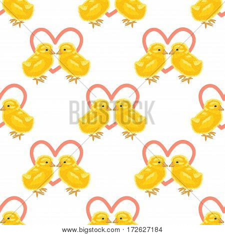 Happy Easter. Seamless pattern with enamoured chicks on a white background.