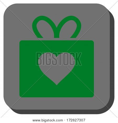 Love Gift toolbar button. Vector pictogram style is a flat symbol inside a rounded square button green and gray colors.