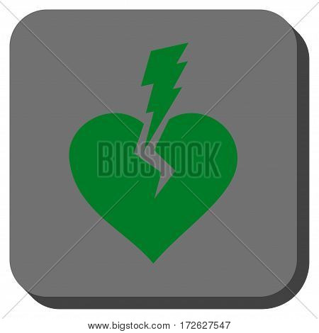 Love Heart Crash square icon. Vector pictograph style is a flat symbol inside a rounded square button green and gray colors.