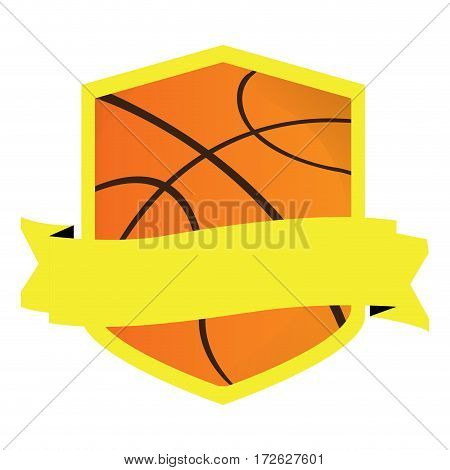 Isolated basketball emblem with a ribbon, Vector illustration