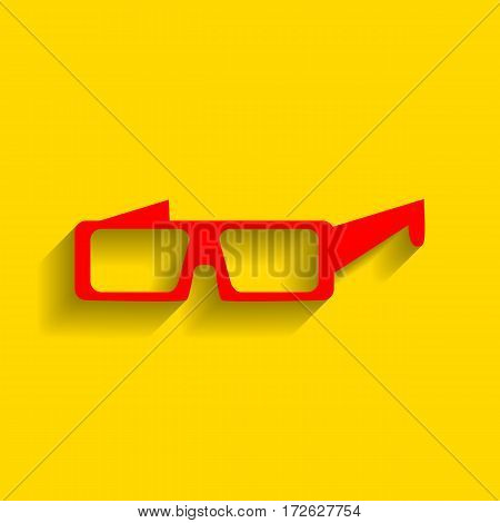 Modern glass sign. Vector. Red icon with soft shadow on golden background.
