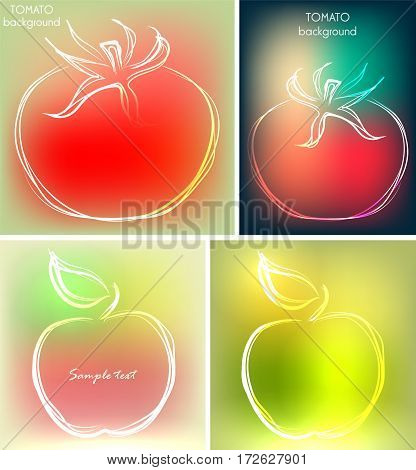 Set of four backgrounds or greeting cards with tomatoes and apples in beautiful colors. Vector illustrations, sketches