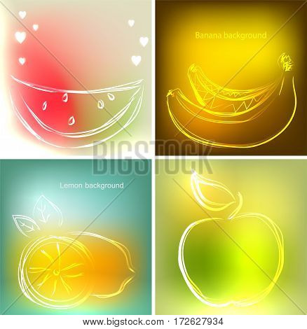Set of four backgrounds or greeting cards with watermelon, bananas, lemon and apple in beautiful colors. Vector illustrations, sketches