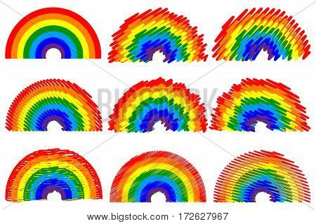 rainbow Vector illustration - set , rainbow arch ,