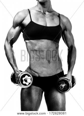 Strong woman with barbells, isolated on white, copyspace