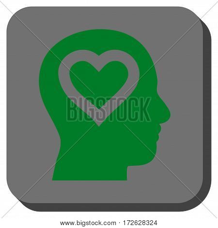 Love In Head interface toolbar icon. Vector pictogram style is a flat symbol centered in a rounded square button green and gray colors.
