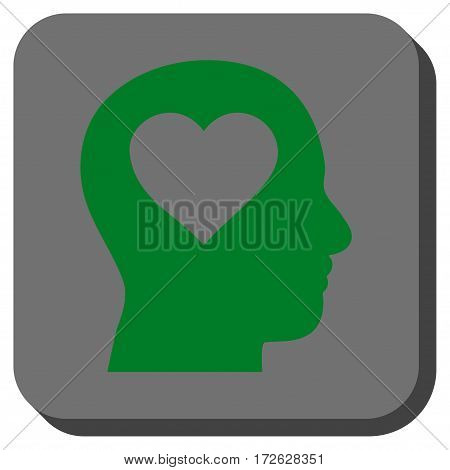Love In Head rounded icon. Vector pictograph style is a flat symbol in a rounded square button green and gray colors.