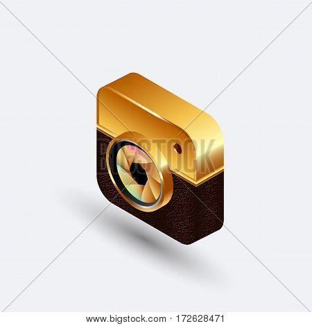 new isometric gold digital camera square emblem