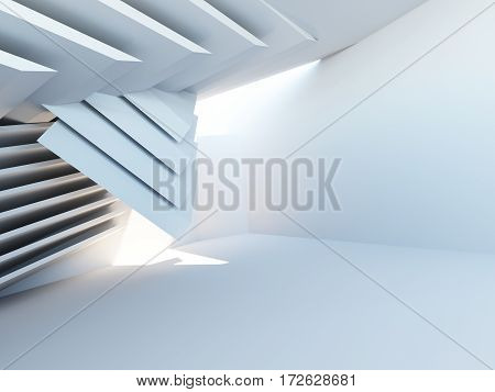 Geometric architecture, white abstract room interior render, architectural futuristic background, 3d illustration