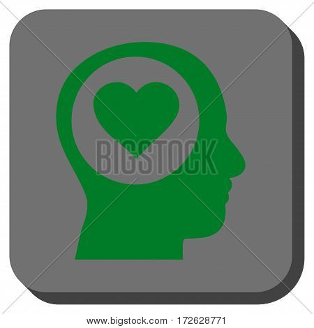 Love Thinking Head toolbar icon. Vector pictogram style is a flat symbol in a rounded square button green and gray colors.