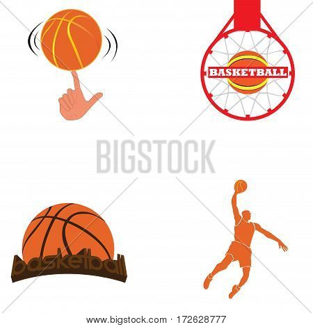 Set of basketball related objects, Vector illustration