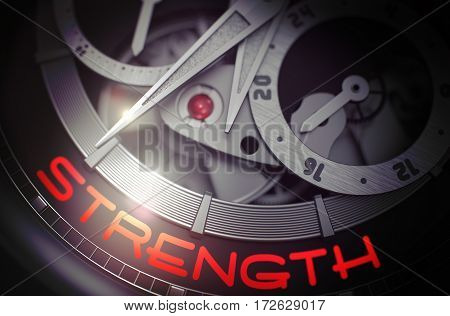 Strength on Face of Vintage Watch, Chronograph Close View. Luxury Wristwatch with Strength Inscription on Face. Business Concept with Glow Effect and Lens Flare. 3D Rendering.