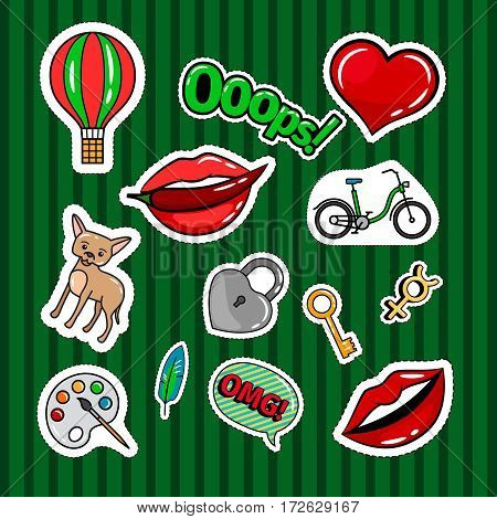Colored quirky badges set with lips, dog, bicycle and key on green background. Vector patches or stickers collection