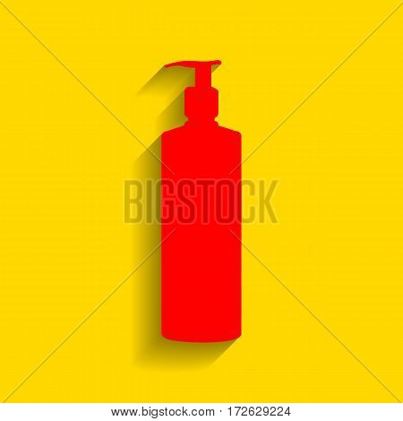 Gel, Foam Or Liquid Soap. Dispenser Pump Plastic Bottle silhouette. Vector. Red icon with soft shadow on golden background.
