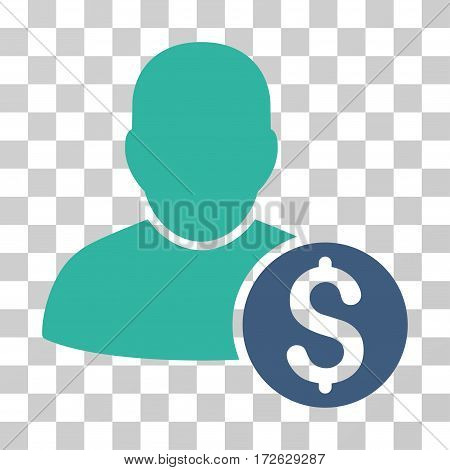 Businessman icon. Vector illustration style is flat iconic bicolor symbol cobalt and cyan colors transparent background. Designed for web and software interfaces.