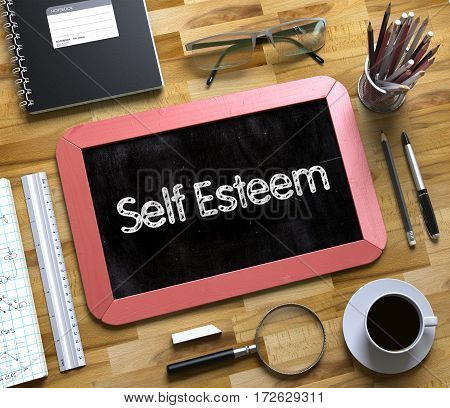 Self Esteem Concept on Small Chalkboard. Self Esteem Handwritten on Red Small Chalkboard. Top View of Wooden Office Desk with a Lot of Business and Office Supplies on It. 3d Rendering.