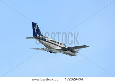 BOSTON - JUL. 3, 2015: Cape Air Cessna 402C at Boston Logan International Airport, Boston, Massachusetts, USA.