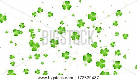 Clover flying leaves background. Saint Patrick's Day banner. Three leaf clover leaves.