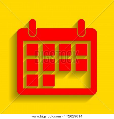 Calendar sign illustration. Vector. Red icon with soft shadow on golden background.