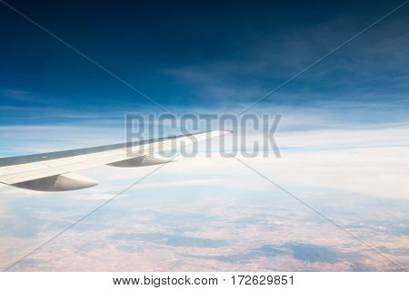 Wing Of Aeroplane Flying In The Sky