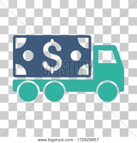 Cash Delivery icon. Vector illustration style is flat iconic bicolor symbol cobalt and cyan colors transparent background. Designed for web and software interfaces.