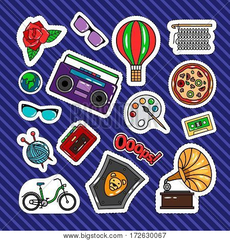 Quirky style retro patches set with cassette recorder, bicycle, air balloon and sunglasses. Vector stickers or badges collection on blue background